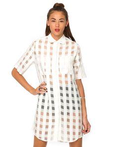 Motel Bobtail Shirt Dress in Sheer White Check, TopShop, ASOS, House of Fraser, Nasty gal
