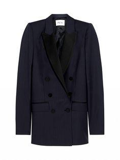Pallas Cerbere Pinstriped Wool Blazer in black