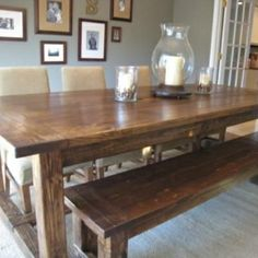 I have fallen in love with the farm house tbl . I want one so bad. DIY Farmhouse Table and Bench Kitchen. This is exactly what I want in my dining room.