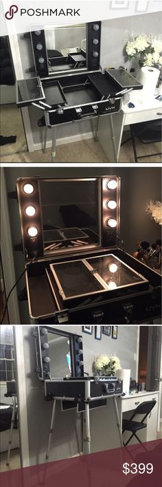 Makeup vanity case with dimmable lights. Large train case, veritable makeup studio on wheels