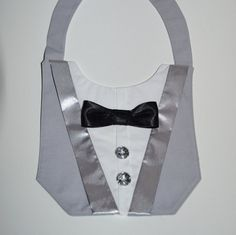 Dog Wedding Tuxedo Deluxe in Grey and Bow Tie by SewItThemes