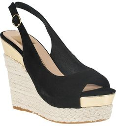 $69, Black Suede Wedge Sandals: Joss Wedge Espadrille Black Suede by Dolce Vita. Sold by Jildor. Click for more info: http://lookastic.com/women/shop_items/35165/redirect