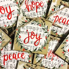 Christmas ornaments using hymnal pages by artist Haley Bush Christmas Ornaments To Make, Christmas Signs, Homemade Christmas, Rustic Christmas, Christmas Art, Christmas Projects, Holiday Crafts, Christmas Holidays, Christmas Decorations