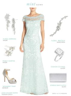 3237a4ffd8 Mint lace gown for a wedding or mother of the bride Mint Bridesmaid Dresses