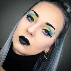 "P A S T E L  G O T H ""My soul may be dark but my makeup doesn't have to be !"" @katvondbeauty __________ FACE : @katvondbeauty Primer @makeupforeverofficial Lift foundation 1 @katvondbeauty Lock it concealer in L5 & White Out @bennyemakeup Neutral set powder @lhcosmetics Cigar (Contour), Pinwheel (Blush) @katvondbeauty Opal from Alchemist Palette _ BROWS : @tartecosmetics Clay paint liner _ EYES : @katvondbeauty The Pastel Goth Palette & Emerald from Alchemist palette & Trooper tatto"