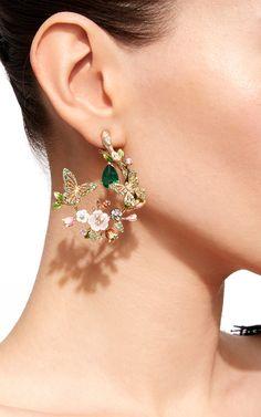 Butterfly Garland Earrings - new season bijouterie Ear Jewelry, Cute Jewelry, Bridal Jewelry, Diamond Jewelry, Diamond Earrings, Jewelry Accessories, Vintage Jewelry, Jewelry Design, Stud Earrings