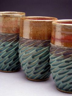 Jeff Brown - ceramics stoneware tumbler turquoise and shino glaze