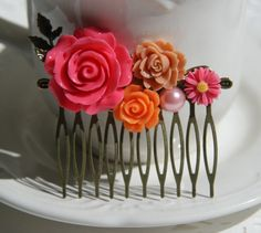 Cabochon utopia bridal bride hair pin comb romantic vintage flare affair modern flowers antique victorian pink orange pearl leaf filigree by AdoredByYou on Etsy
