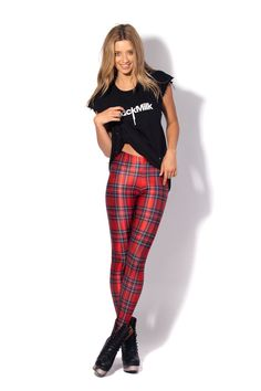 Tartan Red Leggings by Black Milk Clothing
