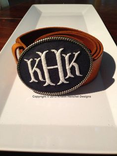 Kristin Henchel custom women's monogram belt buckle - fish tale monogram on Etsy, $47.00