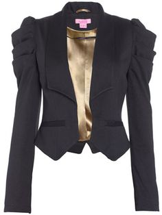Tuxedo jacket ruching at shoulder. love the gold lining