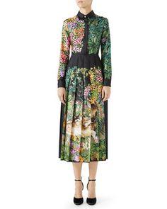 d2b9df1143 Gucci Long-Sleeve Floral-Print Silk Twill Midi Dress w  Pleated Skirt. Mix  StyleBergdorf GoodmanPleated ...