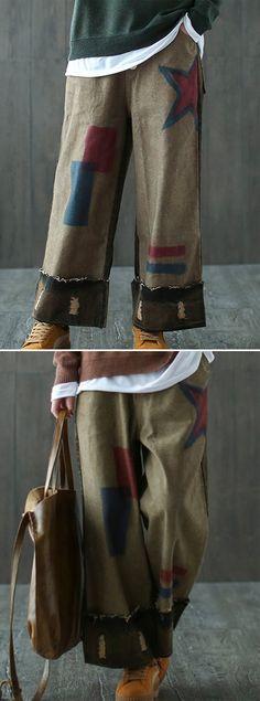 [Newchic Online Shopping] 46%OFF Women's Vintage Pants | Women's Casual Pants | Women's Wide Leg Pants | Women's Elastic Waist Pants