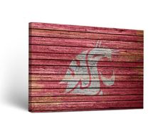 NCAA Washington State Cougars Weathered Design Wall Art on Wrapped Canvas