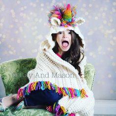 CROCHET PATTERN-rainbow unicorn hooded blanket, hooded blanket, hooded crochet blanket, crochet blanket, unicorn, crochet unicorn by LilyandMasonboutique on Etsy https://www.etsy.com/listing/503021218/crochet-pattern-rainbow-unicorn-hooded