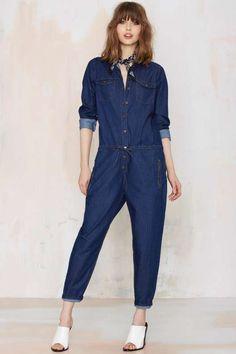 Glamorous Rachel Denim Jumpsuit - Sale : Denim