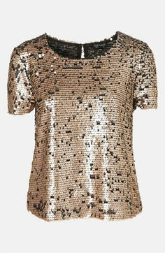 Love gold and black Topshop Sequin Top available at #Nordstrom