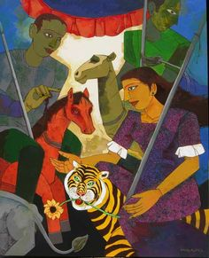 Dolna code: ASM003 Merry go round by Ashoke Mullick. Acrylic on canvas, 42 x 52 (inches), Price INR 3,75,000. Browse www.dolna.in to buy awesome original art.