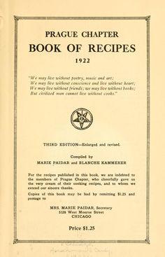 Prague chapter book of recipes, 1922 ..