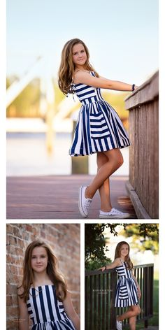 Teen/Tween Girls Marina Dress Summer fun with blue and white stripes at Kinder Kouture Clothing Kids Summer Dresses, African Dresses For Kids, Cute Girl Outfits, Little Girl Dresses, Cute Outfits For Kids, Kids Outfits Girls, Dress Summer, Girls Frock Design, Baby Dress Design