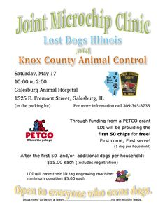 LDI and Knox County AC Joint Microchip Clinic! 5/17 10 am to 2 pm #Illinois #Free #Microchip #KnoxCounty #Galesburg #Dogs #Pets