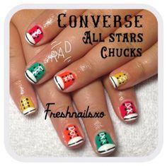 Were completely smitten with Sashas Converse mani. They really tie a back to school outfit together! Back to School Nails Fall Nails Converse All Star Chucks Short Nails Nail Art Nail It! School Nail Art, Back To School Nails, Converse Nail Art, Nail Desighns, Shoe Nails, Short Nails Art, Girls Nails, Cute Nail Art, Fabulous Nails