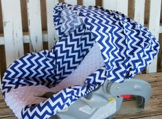 royal blue and white chevron with white minky infant car seat cover and hood / canopy cover Canopy Cover, Set Cover, Car Set, Baby Car Seats, Royal Blue, Chevron, Infant, Blue And White, Color