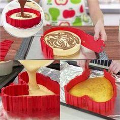 4 Pcs Silicone Baking Mold - Bake Square, Rectangular, Heart Shape, or Round Treats! Cake Decorating Techniques, Cake Decorating Tools, Cooking Cake, Cooking Recipes, Surprise Cake, Cooking Gadgets, Diy Cake, Cake Mold, Savoury Cake