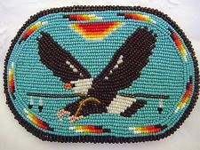 Vintage Native American Hand-Beaded Eagle Belt Buckle