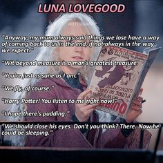 Lines from Luna Lovegood Harry Potter Lines, Harry Potter Art, Harr Potter, Evanna Lynch, Harry Potter Deathly Hallows, Luna Lovegood, Ravenclaw, Journal Ideas, Jokes