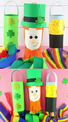 Patrick's Day Windsocks are a fun and easy craft for kids of all ages! Cute leprechaun, pot of gold & shamrock St. St Patricks Day Crafts For Kids, St Patrick's Day Crafts, Daycare Crafts, Preschool Crafts, Holiday Crafts, Craft Projects For Kids, Diy Crafts For Kids, Kids Diy, Christmas Activities