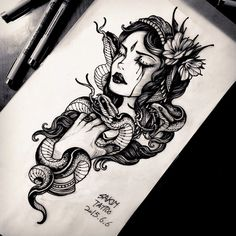 "180 curtidas, 10 comentários - Sakim (@sakim__) no Instagram: ""Gypsy& snake  #blackwork #blackandgreytattoo #blackandgrey #blacktattoo #gypsy #gypsytattoo #snake…"""