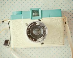 Pretty in Pastels Diana -- Cream and Turquoise Polka Dot Retro Camera Wall Art
