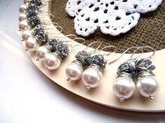 Bridesmaid gifts Set of six pairs of silver pearl by anthology27, $150.90