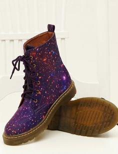 These are so cool but I've never had the guts to put on such boots. galaxy cosmic printed dr. marten style boot