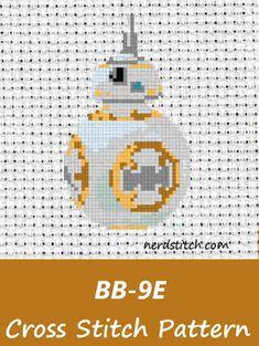 BB-9E Cross Stitch Pattern - nerdstitch.com Cross Stitching, Cross Stitch Embroidery, Cross Stitch Patterns, Star Wars Crafts, Beaded Cross, Crossstitch, Nerdy, Needlework, Beading