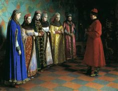 Sedov G, Tsar Alexei Romanov chooses a bride. He picked Efimiya Vsevolzhskaya. Having heard the news, she fainted. The enemies immediately accused her of having fits, and she and her family were sent to Siberia. Prince Albert, Prince Charles, Norman Hartnell, Russian Painting, Russian Art, Russian Ladies, Russian Icons, Russian Beauty, Russian Folk
