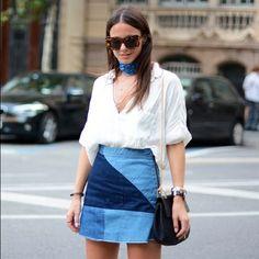 Zara patchwork denim skirt On trend denim patchwork mini skirt from Zara.  Side zip entry.  Raw hem detail.  In great condition. Zara Skirts Mini