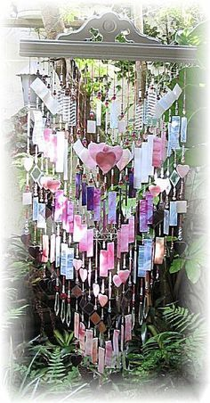 Art: Think Pink Stained Glass Wind Chime by Artist Darlene Dunat Crystal Wind Chimes, Glass Wind Chimes, Diy Wind Chimes, Stained Glass Art, Mosaic Glass, Fused Glass, Blown Glass, Mobiles, Dreams Catcher