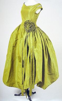 "Robe de Style, ""Marjolaine,"" Jeanne Lanvin: 1920, taffetas changeant used to create an off-the-shoulder-drop-waist, full-skirted silhouette."
