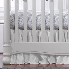 Soft, breathable, luxe white woven (linen look) crib skirt with a drop and a soft gather. Shown with our Cloud Gray Bunnies all-cotton percale sheet. Also pairs well with many of our crib sheets and minky blankets or white woven crib rail covers. Nursery Furniture Collections, Nursery Furniture Sets, White Crib Skirt, White Skirts, Woodland Crib Bedding, Crib Rail Cover, Neutral Bedding, Chic Nursery, Girl Nursery