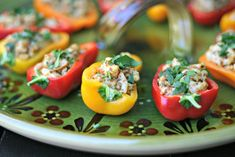 The perfect low carb appetizer! Stuffed sweet baby peppers with Wild Oregon Bay Shrimp and pesto. Dairy Free and Whole30 options as well. via @EverydayMaven