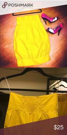 Zara Yellow Strapless Bubble Dress Super cute Zara Basic dress for a fun day out. Excellent condition. Zara Dresses Strapless