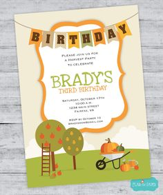 Fall Birthday Invitation , Fall Invitation, Harvest Party, Autumn Birthday, Woodland Birthday DIGITAL PRINTABLE FILE by FlairandPaper on Etsy