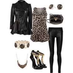 """Leather and Animal Print Outfit"" by alerogirl on Polyvore"