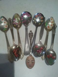 hand painted teaspoons by Julie Shaw