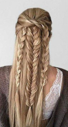 18 Gorgeous Braids Hairstyle For Long Hair You Would Fall In Love instantly Braids hairstyle is always fun to have. Many people choose braids hair styles to look different and classy. For getting rid of your boredom on your favorite braid hairstyle you ca African Braids Hairstyles, Braided Hairstyles, Cool Hairstyles, Evening Hairstyles, Bandana Hairstyles, Everyday Hairstyles, Viking Hair, Viking Braids, Beautiful Braids