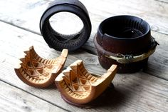 """Traditional carved wooden molds for Polish smoked cheese """"oscypek"""""""