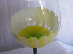 Daisy Hand Painted Wine Glasses by TheGardenPot999 on Etsy, $18.00