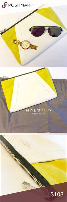 """New Halston Heritage Leather & Suede Clutch! New Halston Heritage Leather & Suede Clutch! My pick of the week! Absolutely gorgeous clutch with a graphic-chic color block style in leather and suede (smells like new car leather ☺️).   Top zip closure and two open pockets inside.  Approximate measurements are: 11""""W X 8""""H X 1""""D Halston Heritage Bags Clutches & Wristlets"""